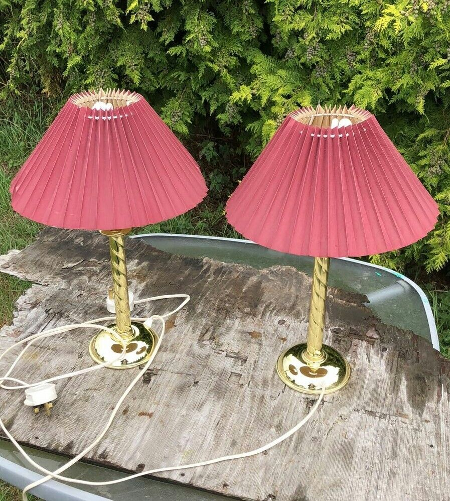 A Pair of Vintage Brass Twisted Stem Table Lights Lamps