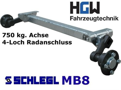 Ungebremste Am: 1200 MM Asse Per Rimorchio As : 4 100 750 Kg