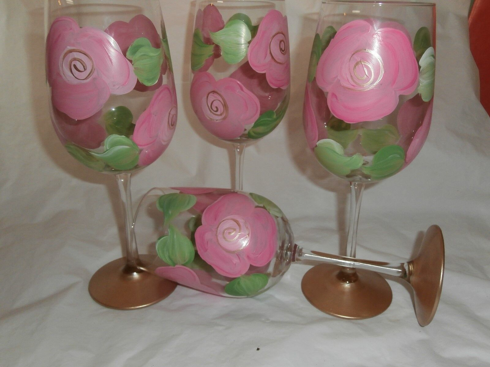 HAND PAINTED PINK CABBAGE pink pink gold WHITE WINE GOBLETS   SET OF 4-