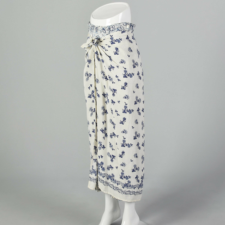 XS 1990s Blue White Maxi Skirt Bohemian Long Laye… - image 3