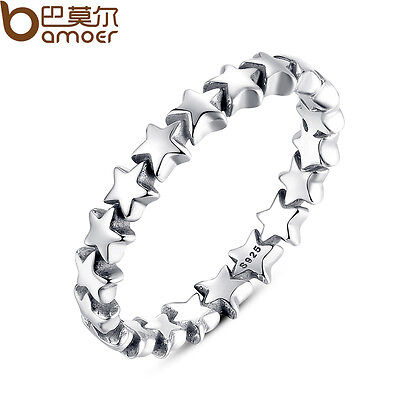 Bamoer Authentic S925 Sterling Silver Ring , Star Trail Stackable For Women Gift