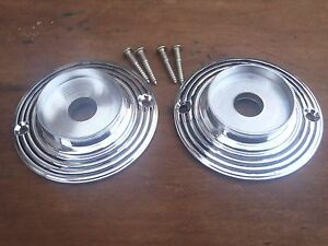 2 HEAVY BLACK RINGED CHROME DOOR KNOB BACK PLATES 60 mm SUIT RIM LOCK ETC.