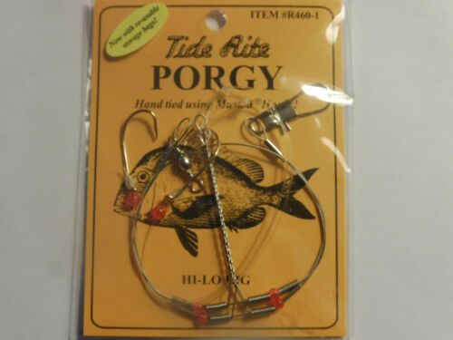 4 PORGY RIGS SCUP TIDE RITE R460-1 BEADED HI-LO RIG SALTWATER  FISHING MUSTAD