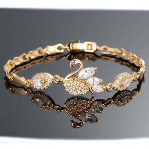 18k-Goldkette-Armreif-Damen-Armband-18cm-Geschenk-Armkette-vergoldet-Schwan