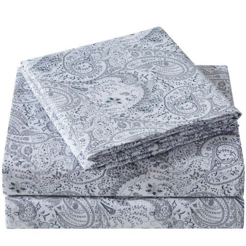 Mellanni Sheet Set Floral Print Deep Pocket Microfiber Paisley Blue//Gray