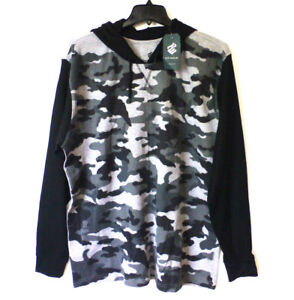 f7ac57560 Rocawear Mens Size Large Black & Gray Camo Slim Fit Hooded Thermal ...