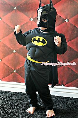 Muscle Batman Hero Outfit Boys Kids Child Party Costume Present Gift 2-7Year