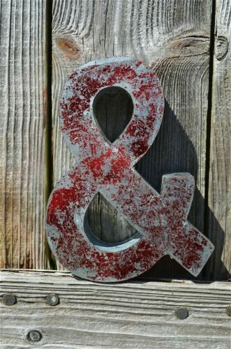 MEDIUM VINTAGE STYLE 3D RED /& SHOP SIGN LETTER TIN WALL ART AMPERSAND FONT