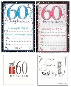 Image Is Loading AGE 60 60th BIRTHDAY Party Invitations Amp Envelopes