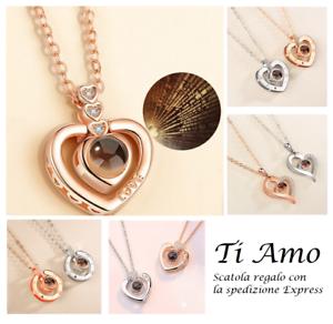 Collana-Ti-Amo-Donna-I-Love-You-in-100-Lingue-Ologramma-Cuore-Coppia-Fidanzati