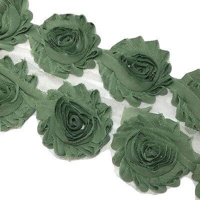 "1//2 yard party polka dot 2.5/"" shabby chiffon rose trim fabric flower headband"