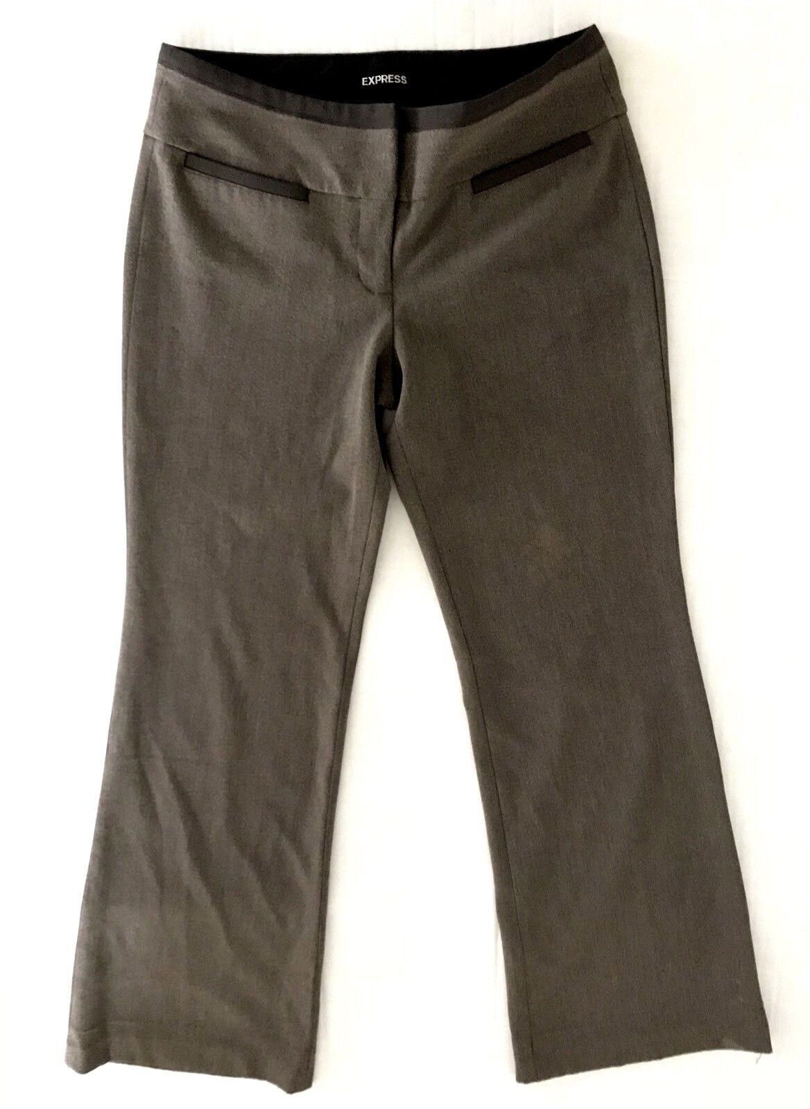 Express Editor Womens Brown Trousers Size 6 x 31 Flat Front Regular Stretch
