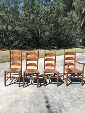 SET OF 4 VINTAGE CHERRY LADDERBACK DINING CHAIRS