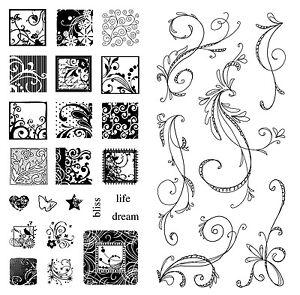 Inkadinkado-Clear-Stamps-Flourish-Pack-2-Stamp-Sets-Flourishes
