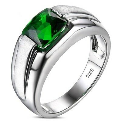 Size 8-12 Brand Jewelry Mens Jewelry Green Emerald 925 Silver Band Ring