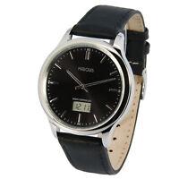 Elegante MARQUIS Herren Funkuhr (deutsches Funkwerk) Armbanduhr Leder 964.4803