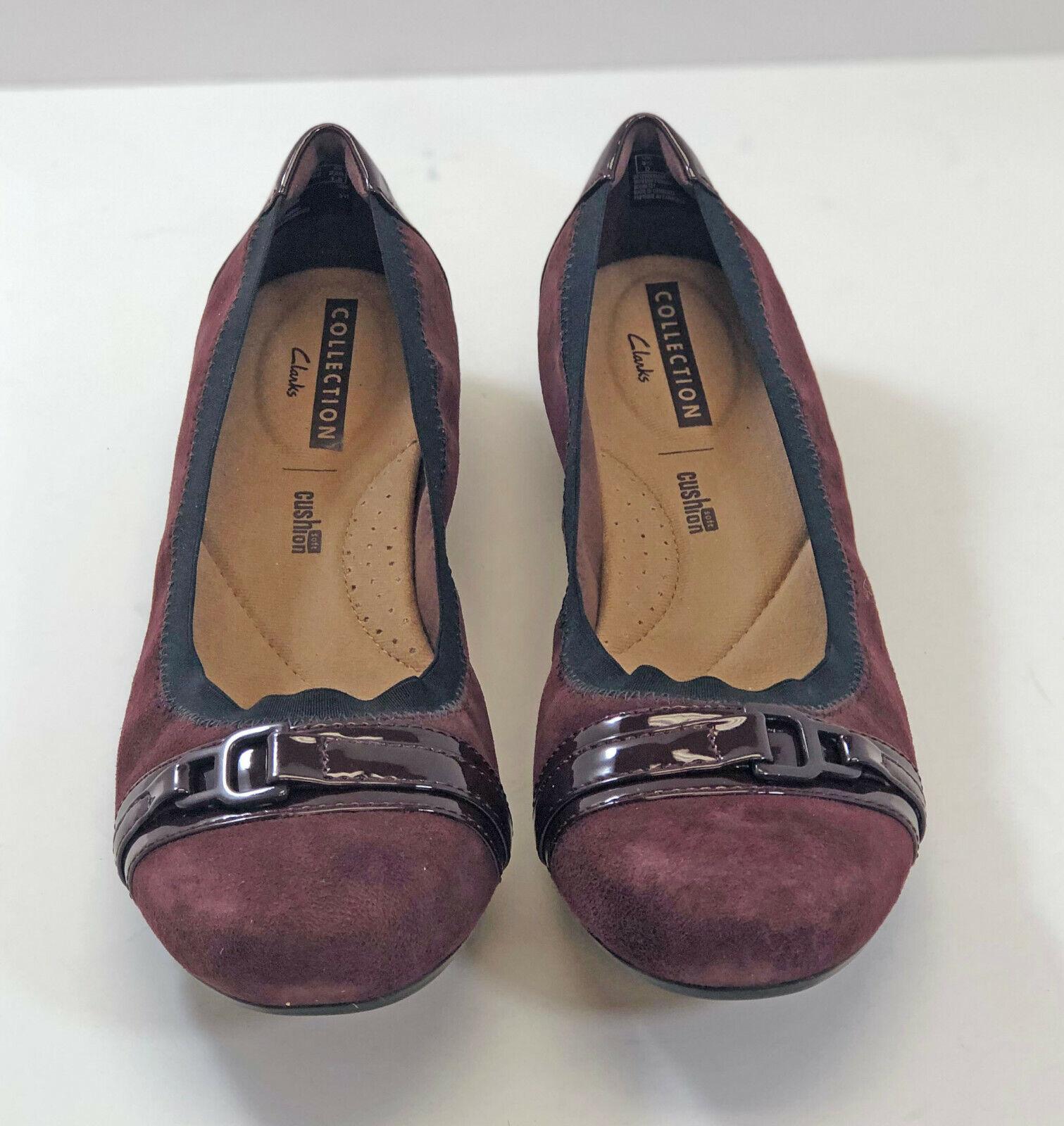 Clarks Leather Slip-on Flats - Kinzie Light Women's 6 Medium Burgundy