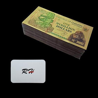 RHCN 100pcs Zimbabwe One Bicentillion Dollars Color Gold Banknotes with UV light