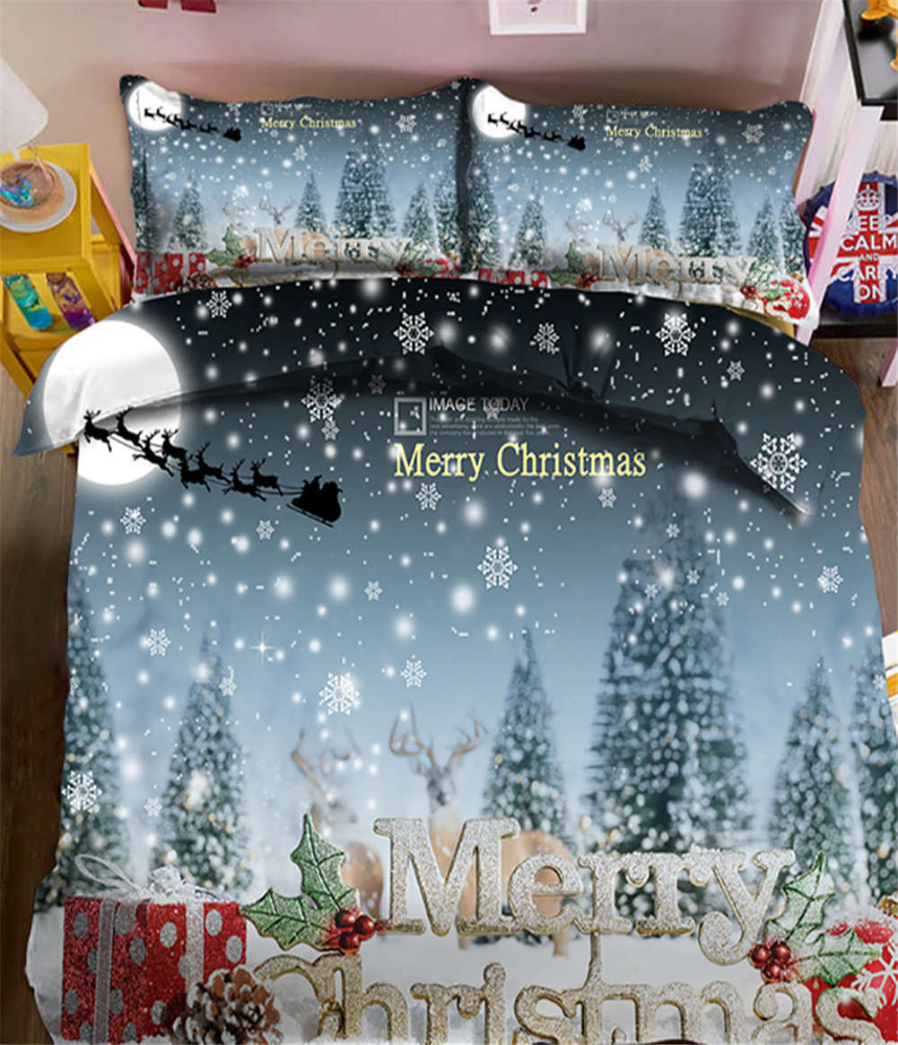 Large Snowflakes 3D Printing Duvet Quilt Doona Covers Pillow Case Bedding Sets