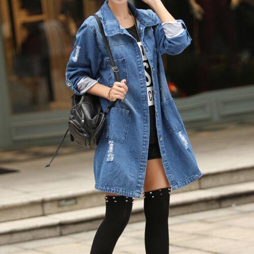 Women/'s Fashion Casual Long Sleeve Denim Jacket Jeans Coat Trench Parka Outwear