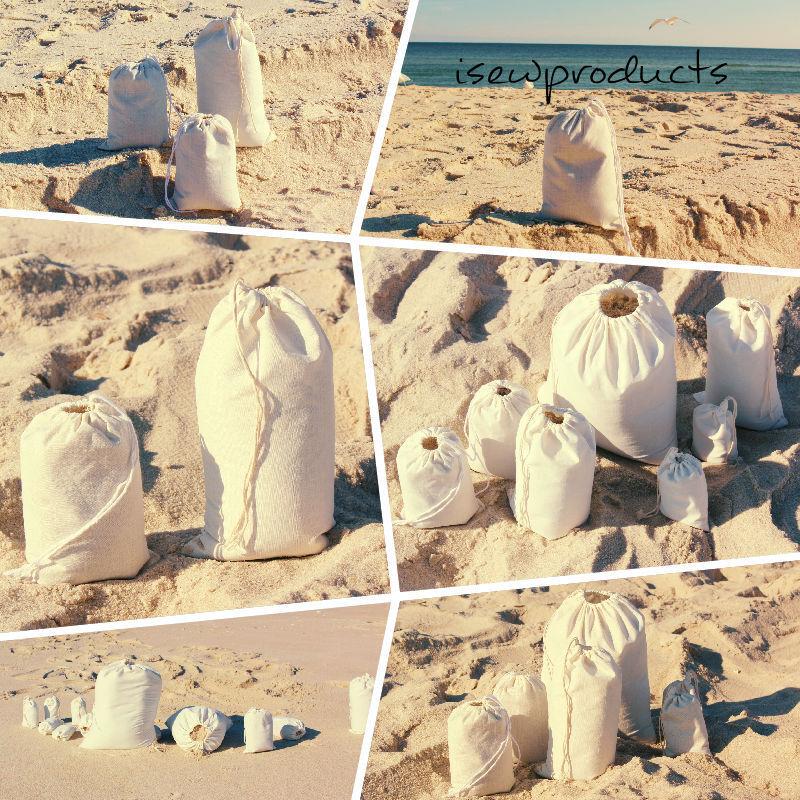 Coton Mousseline Sacs unique avec cordon de serrage  différentes tailles et couleurs  Qté -1000
