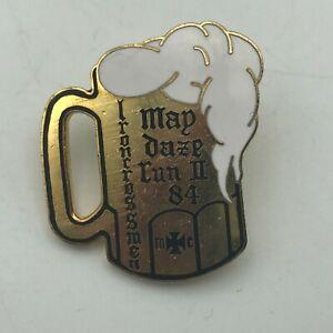 1984 IronCrossMen Motorcycle Club MC Beer Stein Mug Lapel Hat Pin Screw Back S1