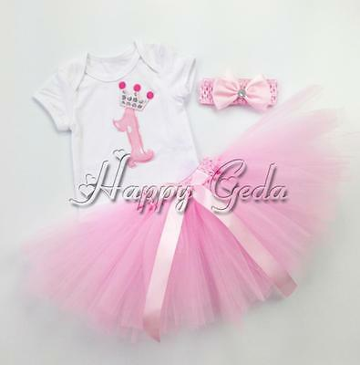 3PCS Baby Girl Princess 1st Crown Romper Tutu Skirt Headband Birthday Dress Sets
