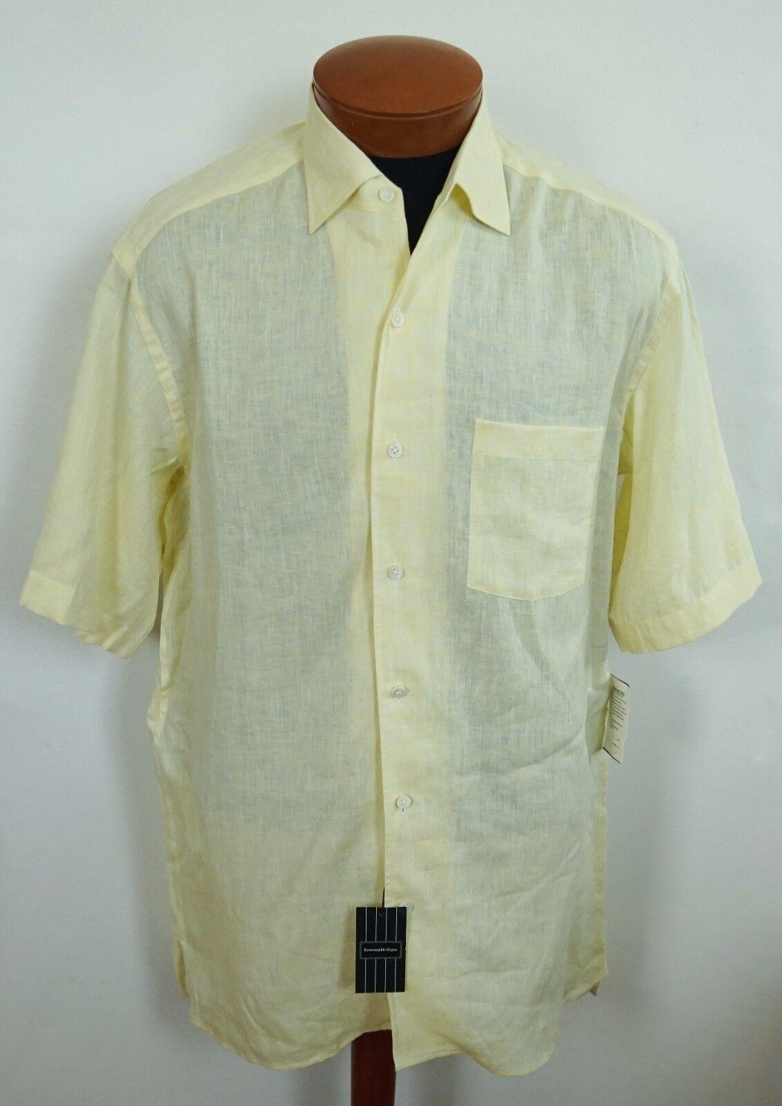 NWT Authentic ERMENEGILDO ZEGNA Yellow 100% LINEN Short Sleeve Shirt M