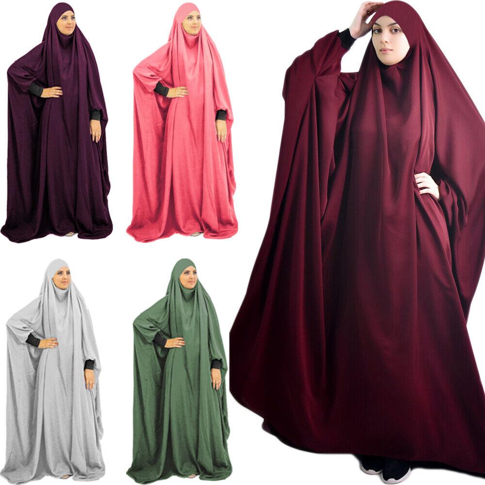 One Piece Prayer Dress Burka Muslim Women Jilbab Overhead Hijab Robe Abaya Burqa