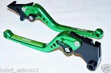 Green Long 6-Position Adjustable Brake Clutch Levers for NINJA 250R / 300R