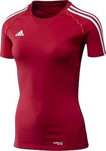 adidas-Damen-Sportshirt-rot-Trainingshirt-Laufshirt-Gr-XS-S-M-XL