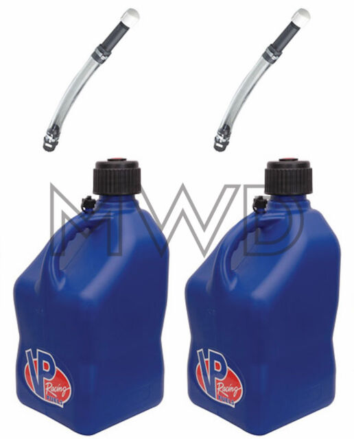 2 Pk VP 5 Gallon BLUE Racing Fuel Gas Can/Water Jug/Jerry Container/Deluxe Hose