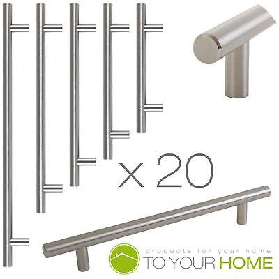 20 X T Bar Satin Kitchen Cupboard Cabinet Drawer Door Handles 5 Sizes Available Comfortabel Gevoel