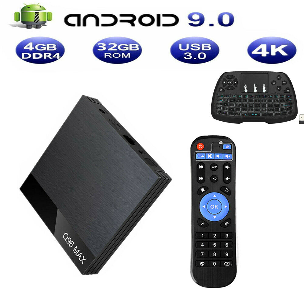 Q96 MAX Android9.0 TV Box Allwinner H6 4+32GB WiFi 100M 4K+Keyboard HD LOT Y4N4 100m allwinner box lot max q96 wifi y4n4