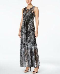 c40aa5b683 Calvin Klein Palm-Print Tiered Maxi Dress SIZE 2 BLACK GREENISH ...