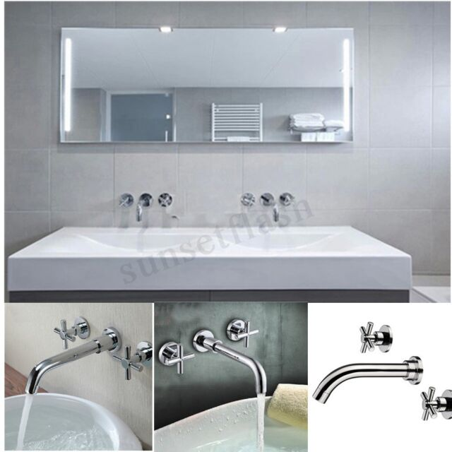 Modern Brass Chrome 3 Holes Wall Mounted Bathroom Sink ...
