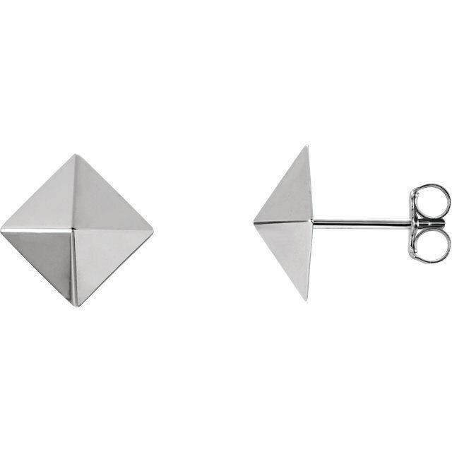 Pyramid Earrings In 14K White gold