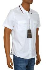 NEW GUCCI DUKE TWILL WHITE COTTON WEB DETAIL POLO DRESS CASUAL SHIRT 39/15.5