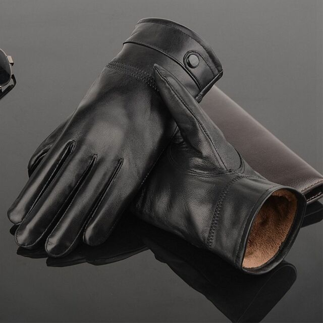 Men's Autumn Winter Classic Genuine Real Leather Gloves Lambskin Driving Black