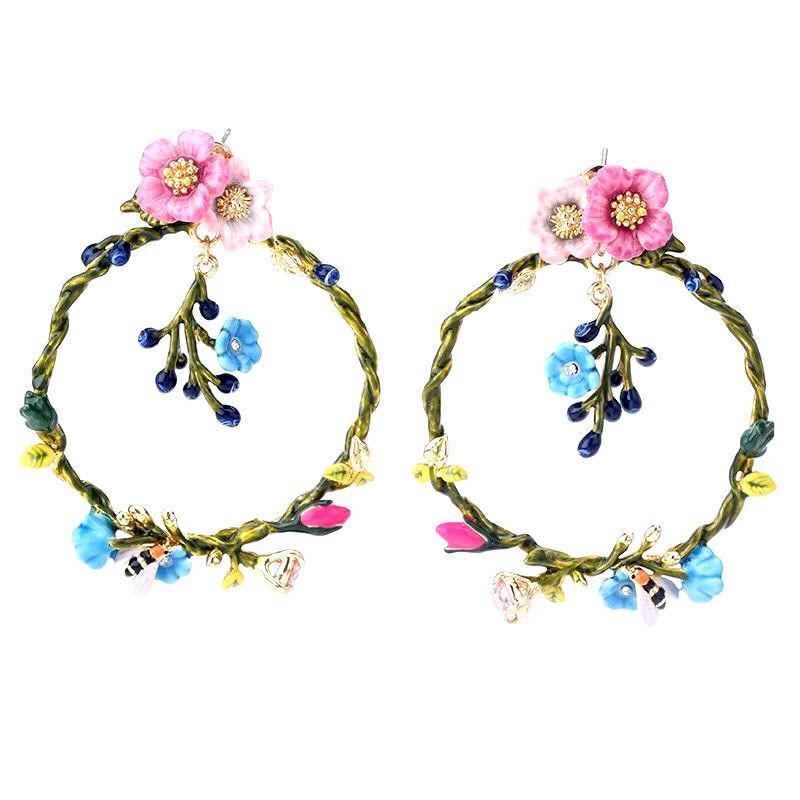 Les Nereides Multi Flowers And Bee Big Hoops Stud Earrings