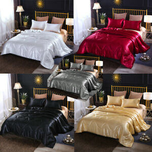 Solid-Santin-Silk-Like-Quilt-Comforter-Set-Ultra-Soft-Doona-Pillowcase-Bedding