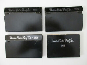 U.S. MINT PROOF SETS, LOT OF 4, 1976, 1978, 1979, 1980 WITH DISPLAY CASE & BOXES