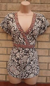 NEW-LOOK-GREY-WHITE-PINK-FLORAL-BELTED-BEADED-V-NECK-BLOUSE-TUNIC-TOP-SHIRT-16