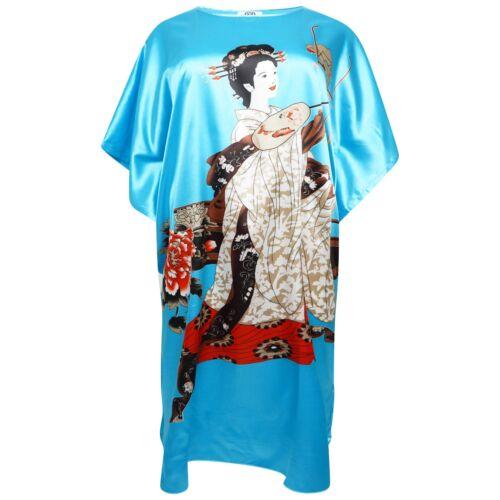 Oriental Chinois Kimono Style Satin Maillots de bain chemise de nuit Caftan Chaise longue de 2 Longueurs