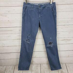 American Eagle Mujer Slouchy Pantalones Tipo Chino Recortado Azul Envejecido Capris Talla 6 Ebay