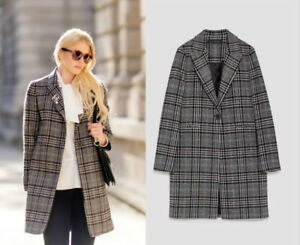 more photos 3d839 46360 Details about ZARA WOLLE MANTEL KARIERT WOOL CHECKED COAT ASO ROYAL  ORIGINAL KATE SIZE S - XL
