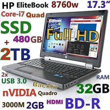 """(17.3"""" 3D-Design NV FHD) HP 8760W i7-Quad (Blu-Ray 480GB-SSD + 2TB 32GB) Backlit"""