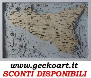Sicilia Mappa Cartina 3D Quadro Moderno Map Chart www.geckoart.it