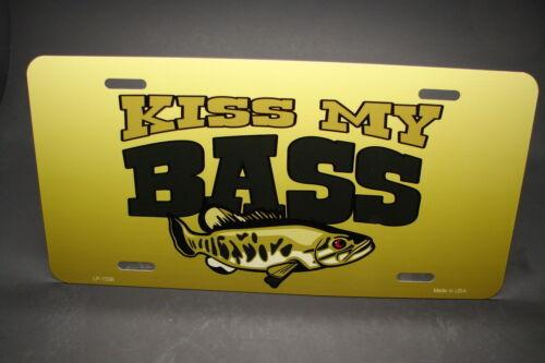 KISS MY BASS METAL NOVELTY CAR LICENSE PLATE FISHING WATERSPORTS BASS FISHING