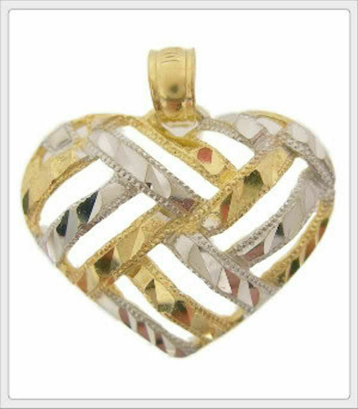 Ladies 10K Two-Tone gold Cut Out Heart Pendant Charm